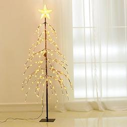 Excelvan 1.5M/5FT 176 LEDs Twinkle Star Upside-down Tree Lig