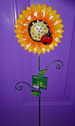1 CALIF DROUGHT Sunflower Ladybug Bug YARD ART Metal STAKE D