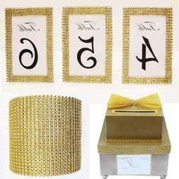 1 <font><b>Yard</b></font> DIY Gold Color Diamond Mesh Rhine
