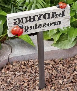 1 LADYBUG CROSSING SIGN STAKE GARDEN FLOWERBED YARD LAWN OUT