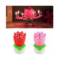 1 X Musical Birthday Candle Lotus Flower Rotating Spin Magic