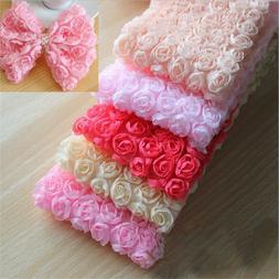 1 Yard 6 Row 3D Chiffon Rose Flower Lace Trim Gift Sewing Cr