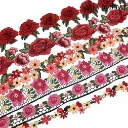 1 Yard Colorful Rose Flower Polyester Lace Embroidery Ribbon