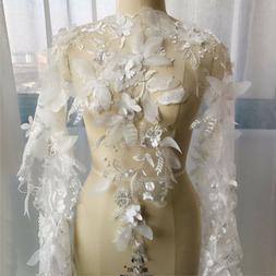 1 Yard Ivory 3D Flower Sequins Lace Trim Applique Lace Fbric
