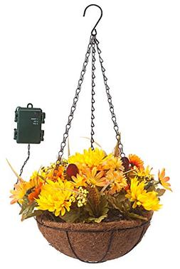 "10"" Hanging Mum Basket with LED Lights"