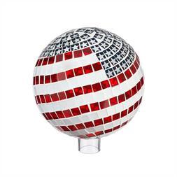 "10"" Mosaic Glass Gazing Ball Patriotic Outdoor Yard Decor Re"