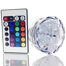 Submersible 10 LED Lights RGB MultiColor Waterproof Wedding
