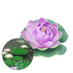 10cm Artificial Lotus Water Lily Floating Flower Pond Fish T