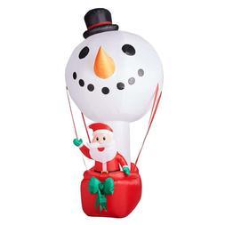 12 Hot Air Balloon Snowman W/Santa Christmas Holiday Airblow