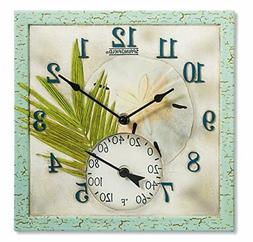 """Springfield 12""""x12"""" Sand Dollar Poly Resin Clock with Thermo"""