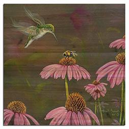 WGI-GALLERY 1212 Competition Bee Hummingbird Wooden Wall Art