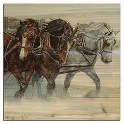 WGI-GALLERY 1212 Winter Wind Horses Wooden Wall Art