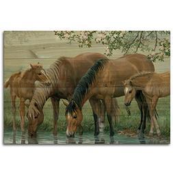 WGI-GALLERY 128 Sweet Spring Horses Wooden Wall Art