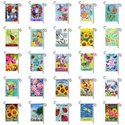 "12x18"" Welcome Garden Yard Flag Banner Flower Butterfly Doub"