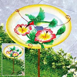 "13"" Hummingbird Floral Glass Bird Bath Stake Bowl Feeder Yar"