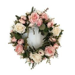 Adeeing 13-Inch Rose Wreath, Small, Pink. Spring/Easter