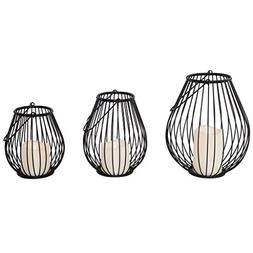 River of Goods 13521 Modern Set of 3 Iron Lanterns with Flam