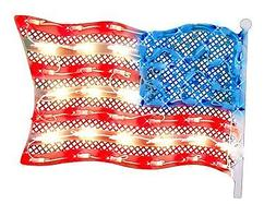 """Impact 14.5"""" Lighted Fourth of July American Flag Window Sil"""