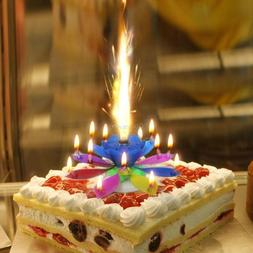 14 Candles Rotating Musical Lotus Flower Candle Birthday Cak