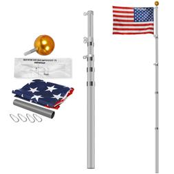 16ft 20ft 25ft Aluminum Secctional flagpole Kit Outdoor Gold