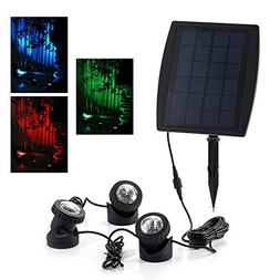 18 LEDs Solar Powered Super Bright 3 Submersible Lamps RGB C