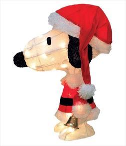 "ProductWorks 18"" Pre-Lit Peanuts Soft Tinsel Santa Claus Sno"
