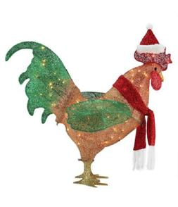 "19"" L GEMMY CHRISTMAS ROOSTER SANTA HAT YARD DECOR LIGHTED"