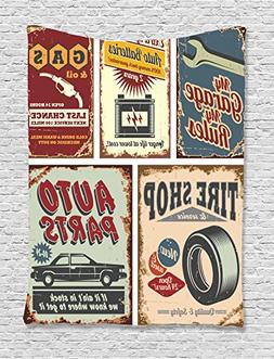 Ambesonne 1950s Decor Collection, Vintage Car Metal Signs Au