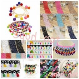 1Yard PomPom Trim Ball Beadsed Fringe Ribbon Lace DIY Sewing