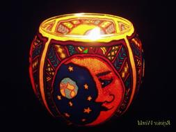 2 Fimo Clay Art Candle Holders / Moon Face -- Outdoor Light
