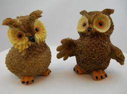 2 Brown Owls Birds Yard Garden Statue Figurine Outdoor Decor