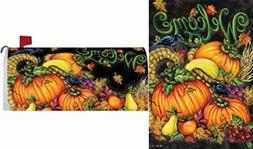 Bundle of 2: Harvest Welcome Mailbox Cover and Yard Flag