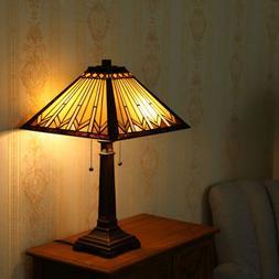 2-Light Tiffany Style Table Lamp Art Glass Geometry Shape Sh