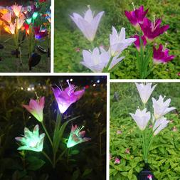 2 Pack LED Lily Flower Lights Solar Powered Garden Yard Stak