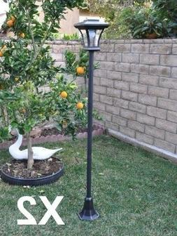 2-Pack Solar Charged LED Lamp Post Decorative Yard Light wit