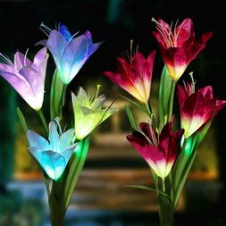 2 Pack Color-Changing LED Solar Powered 8 Flowers Stake Ligh