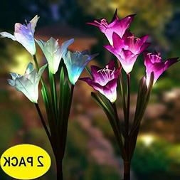 2 Pack Solar Garden Lights Lily Flowers Stake Lamp For Yard