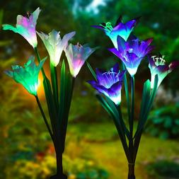 2-pack Solar Lily Flowers Garden Lights LED Outdoor Yard Dec
