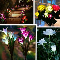 2 Pack Solar Lily Rose Flower LED Lights For Garden Patio Ya