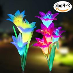 2 Pack Solar Power Lily Flower LED Lights Garden Stake Lamp