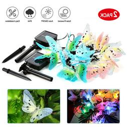 2-Pack Solar String Lights 12.48Ft 12 LED Butterfly Light Au