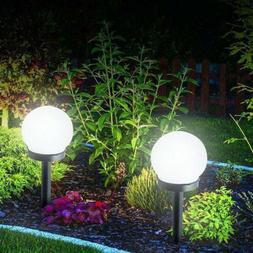 2 PCS Solar LED Ground Light Ball Lamp Waterproof Outdoor Ga