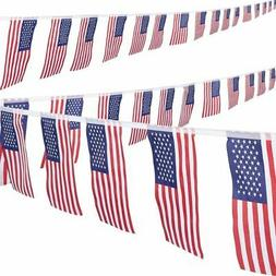 2-Piece American Pennant Flag Banner for 4th of July Memoria