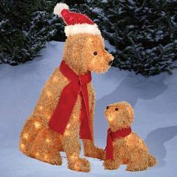 2 Piece Lighted Fluffy Santa Dog Family  Christmas Yard Deco