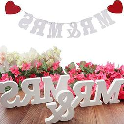 Future 2 Set Mr & Mrs White Wooden Letters for Wedding Party