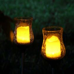 2 Solar Light Flickering Candle Garden Stake Glass Crackle S