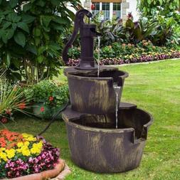 2 Tiers Outdoor Barrel Waterfall Fountain with Pump Patio Ga