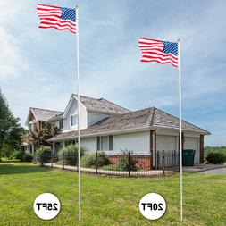 20'/25' Flag Pole Aluminum Telescopic Flagpole Kit U.S Flag