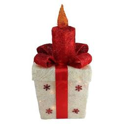 Northlight 20 in. Lighted Sisal Gift Box with Candle Christm
