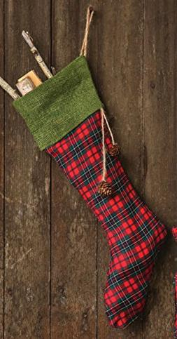 """20""""L Plaid Stocking with Green Cuff and Pinecone Poms"""